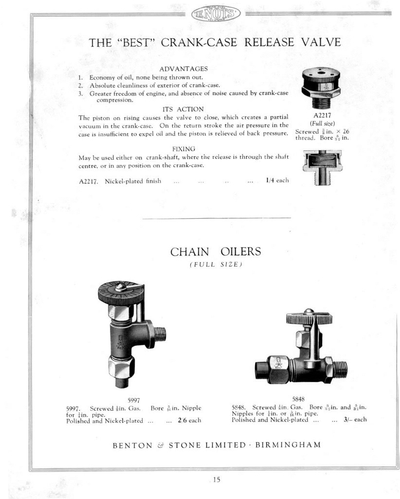 Enots, Motor Fittings Cat.1938.page 15.1